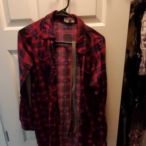 Plaid button up women's shirt